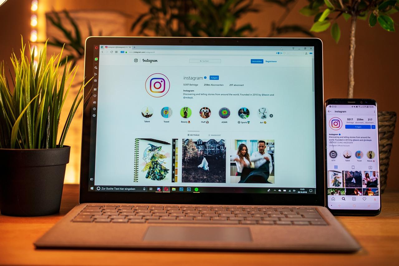 laptop, mobile phone, instagram